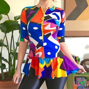 Vintage DVF colorful abstract print blouse XS